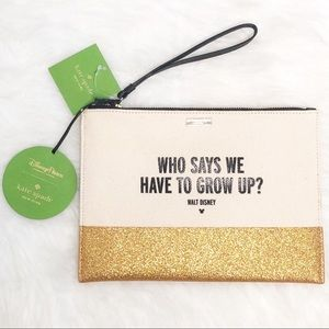 Kate Spade Disney Parks Never Grow Up Gold Clutch